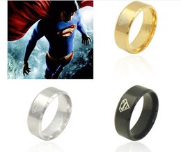 Wholesale 316l S Steel - 2016 Popular explosion models in Europe and America Jewelry S Type 316L titanium steel Superman ring