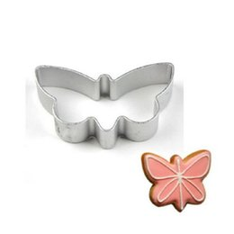 Wholesale Butterfly Cookies - Wholesale- Aluminum Biscuit Mould Bakeware Butterfly Shape Fondant Cake Mold DIY Sugarcraft 3D Pastry Cookie Cutters MF41