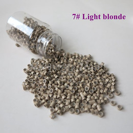 Wholesale Aluminium Beads - Wholesale 1000pcs bottle 5*3*3mm 7#Light blonde Aluminium Silicone Lined Micro Rings Links Beads for Feather Human Hair Extensions