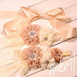 Wholesale Chiffon Flower Belt - Chiffon Flower Macthing Satin Rossette Sash Belt Flower Girl Ivory Sash and Headband Set Vintage Baby Headband