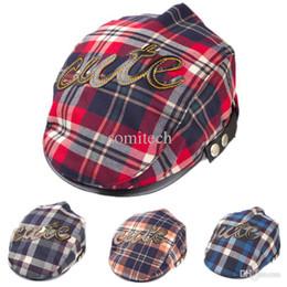 Wholesale Kid Flat Peak Caps - 2015 Hot Sales Baby Kids Toddler Plaid Beret Cap Cabbie Casquette Flat Peaked Hat Cap Free Shipping