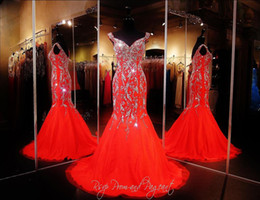 Wholesale Strapless Beaded Chiffon Dress - 2018 Bling Sexy Evening Dresses Wear Crystal Major Beading Long Red Chiffon Cap Sleeves Mermaid Sweep Train Formal Prom Party Pageant Gowns