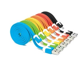 Wholesale I Phones 5s Cable - Wholesale-1M New V8 Micro Colorful Noodle Flat Data USB Charging Cords Charger Cable Line for i 5 5C 5S 4 4s Samsung Android Phone 100PCS