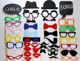 Wholesale Funny Glasses Moustache - 40 Funny Wedding Photo Props Moustache Lips Hats Glasses on A Stick Christmas Birthday Party Favors Gift Free Shipping