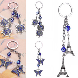 Wholesale butterfly keychains - Hot Selling Fashion Accessories Rhinestone Butterfly Turtle Tower Keychain Car Pendant Key Chain women bag Keyring 3 Styles Free DHL D308Q