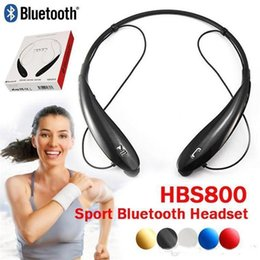Wholesale Bluetooth For Note2 - 500PCS HB800 Sport Neckband Headset In-ear Wireless Headphones Bluetooth Stereo Earphone Headsets For NOTE3 NOTE2 S4 S5 5S ZKT JH4