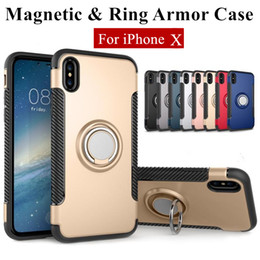 Wholesale Silver Plastic Rings - Hybrid 2-in-1 Armor Case for iPhone X 8 7 6 6S Plus ShockProof Case with 360° Ring Stand Holder Magnetic Back Cover