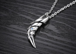 Wholesale Teeth Gems - Talon Fang style Gem-studded Pendant Necklace, pure stainless steel sharp Eagle Claw Tooth of Wolf  Tiger  Leopard  Lion Shape Jewelry