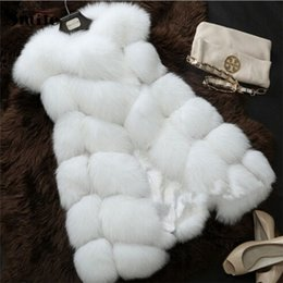 Wholesale rabbit fur waistcoat - Wholesale-Ladies Autumn and Winter Warm Faux Rabbit Fur Vest Coat Women's Plus Big Large Size Fake Fox Fur Sleeveless Waistcoat Jacket