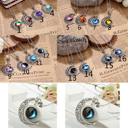 Wholesale Womens Necklace Free Shipping - New Vintage Womens Fashion Jewelry stall time Star Moon Time Gemstone Pendant Chain Necklaces Free Shipping