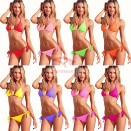 Wholesale gold bikini sale - New Hot Sale Swimwear Bikinis women Swimsuit 10Colors Beach Bikini Sexy Swimsuit Dress beachwear
