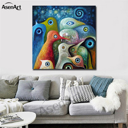 Wholesale Colorful Birds - Colorful Abstract Birds Modernism Oil Painting Printed on Canvas Mural Art Home Decor for Hotel Cafe Bar Office Wall Art