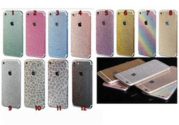 Wholesale Iphone 4s Back Stickers - For Iphone 7 6 6S 6+ Plus 4 4S 5 5S 5SE 5C Full Body Bling Diamond Glitter Rainbow Leopard Front Back Sides Skin Sticker cover 10pcs