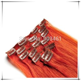 Wholesale Orange Hair Extensions - Wholesale-Hot selling Full Head Straight Remy Hair Dark Orange 7pcs set 70g 18-30 Inch Clip In Hair Extensions fo rHairstyling