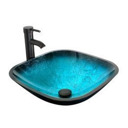 Wholesale Square Vessel Faucet - Eclife Turquoise Square Bathroom Sink Artistic Tempered Glass Vessel Sink Combo with Faucet 1.5 GPM and Pop up Drain Bathroom Bowl