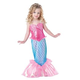 Wholesale Little Girls Mermaid Costumes - Baby Girls Clothes The Little Mermaid Ariel Kids Girls Dresses Princess Cosplay Halloween Costume