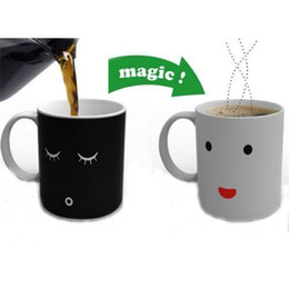 Wholesale Temperature Color Changing Coffee Mug - Magic Color-Changing Cup Smiling Face Morning Ceramic Coffee Mug Heat Cold Temperature Sensitive Battery Meter Tea Milk Cup Fancy Life