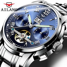 Wholesale Double Tourbillon - AILANG Men's Watches Top Brand Luxury Moon Phases Automatic Watch Men Double Tourbillon Watch Fashion Casual Business Wristwatch