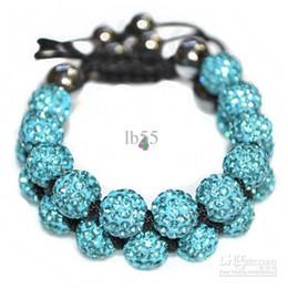Wholesale Cheap Rhinestone Ball Beads - fashion cheap! Hot! 10mm Light Blue Rhinestone Crystal ball bead Shamballa bracelet.Free Shipping Disco wholesale . HOT hotsale hot good