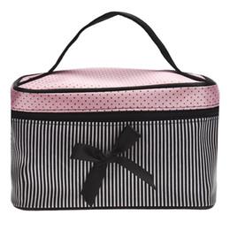 Wholesale Red Big Bag - Lowest Price Women's Bag Square Bow Stripe Cosmetic Bag Big Lingerie Bra Underwear Dot Bags Travel Bag toiletry kits Sac