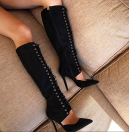 Wholesale Sexy Gladiators Shoes - New Arrival 2016 Women Lace Up Sexy Shoes Pointed Toe Knee Boots Gladiator Lady High Heels Free Shipping