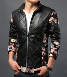 Wholesale Mandarin Collars Blazer - Mens Floral slim blazer new 2016 fashion PU leather coat red fashion faux leather jacket Male jaqueta couro masculina