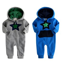 Wholesale Baby Boy Rompers Winter Piece - Winter Baby Rompers Newborn Infant Lovely Clothing 2016 New Cotton One Piece Baby Boy Star Printed Jumpsuit JY0287