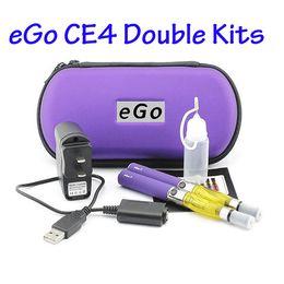 Wholesale E Cig Zipper Double - DHL CE4 Double kits eGo zipper case starter kits e cigs electronic cigarette CE4 atomizer 650mah 900mah 1100mah battery cig vapor vaporizer