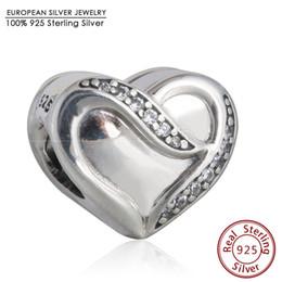 Wholesale Heart Ribbon Sliders - 2016 Ribbon of Love Heart Charm Beads 925 Sterling Silver Clear CZ Heart Bead Diy 2016 Valentine's Day Brand Bracelets Fine Jewelry