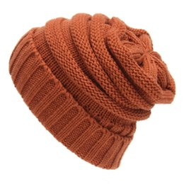 Wholesale Cotton Gifts For Men - Drop Shipping brand Solid Ribbed Beanie winter warm knitted hats Trendy Chunky Soft Stretch Cable Knit Slouchy Beanie Gifts for Men Women