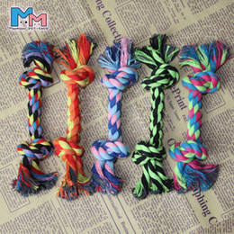 Wholesale Dog Rope Cotton - Puppy Cotton Chew Knot Toy Durable Braided Bone Rope 16CM Funny Tool Wholesale Pets Dogs Supplies