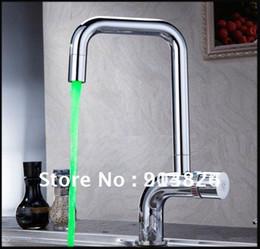 Wholesale Color Changing Green Led Faucet - Temperature control color change led kitchen faucet HM-U011 160313#