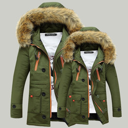 Wholesale Green Jacket Fur - Men's New Winter Coat Fur Collar Couple Coat Hooded Long Section Thick Padded Winter Coat Fashion Casual Jacket