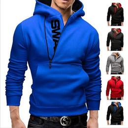 Wholesale Creed Silver - Men's Hoodies Letters Printing Men Slim Fleece Side Zipper Hoodies Hoody Jacket Sweater Assassins Creed Size M-6XL Free Shipping