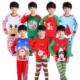 Wholesale Stripes Pajamas - Boys Suits Girls Cotton Deer Stripe Tops Pants Pajamas Santas Little Helper Sleepwear Sets Kids Christmas Sleepwear 14 designs available