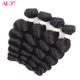 Wholesale Mongolian Loose Curly Bundle - Brazilian Hiar Loose Wave Human Hair 3 4 Bundles Natural Black Brazilian Loose Wave Hair Weaves Brazilian Virgin Human Hair Extension