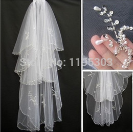 Wholesale Ivory Beaded Wedding Veils - Hot Short Wedding Veils White Ivory Bridal Veils with Comb Two Layer With Sequins Beading Bride Hair accessory Beaded Edge Bride Veils