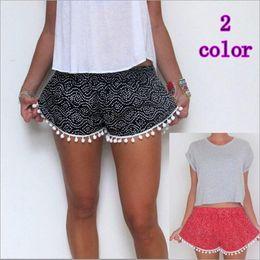 Wholesale Woman Harem Short - 2 colors Wave Dots Tassel Women Shorts Elastic Waist Loose Casual Shorts womens Beach Swimwear Sports Shorts LA221-1