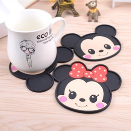 Wholesale Table Mat Cup - Wholesale- Mickey Minnie table Dining table placemats coaster Glass mat pad coffee Silicone heat-resistant cup cartoon coasters CD005