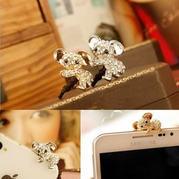 Wholesale Diamond Headphone Dust Plug Cap - Wholesale-5PCS LOT Earphone Limited Dust Plug Cute diamond Koala bear Dustproof Plug Caps For all 3.5MM headphone port dust plug Cute RF