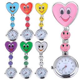 Wholesale Nurse Smiling Face Pocket Watch - Heart Shape Cartoon Smile Face Nurse Watch Clip On Fob Brooch Quartz Hanging Pocket Watch Fobwatch