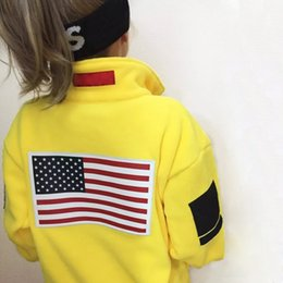 Wholesale Top Quality Ribbon - 17ss SUP Fleece Jacket Trans Antarctica Flag Jacket Men Women Coats Fashion Outerwear Top Quality Black S~XL HFZRY001