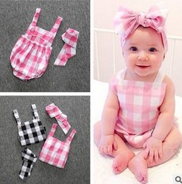 Wholesale sleepsuit romper - 2016 summer INS hot plaid baby rompers button strap Triangle babysuits Sleepsuit headband 2pcs newborn infants romper lovely climing