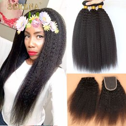 Wholesale coarse yaki lace - 9A Grade Mongolian Afro Kinky Straight Hair With Closure 4Pcs Lot Italian Coarse Yaki Lace Top Closure Pieces 4x4 With Hair Bundles