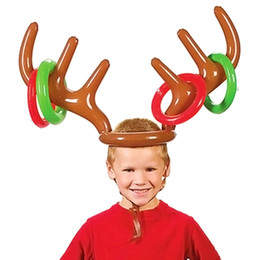 Wholesale Inflatable Ornament - Wholesale- Popular Inflatable Ring Toss Reindeer Antlers Headband Game XMAS Christmas