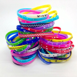 Wholesale Elastic Wristbands - 1000pcs Lots Silicone Wristband Rubber Elastic Bracelet Skull Butterfly etc Mixed 10 Style Men Children Cartoon Fashion Gift Bracelet