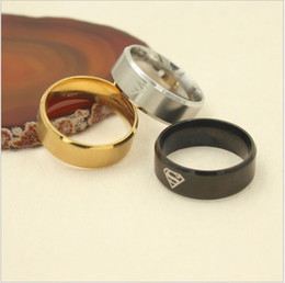 Wholesale American Wells - European and American popular hot style jewelry S 316L titanium steel superman ring, men and women sell well