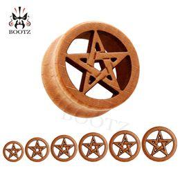 Wholesale Ear Tunnel 25mm - KUBOOZ piercing wood star logo ear gauges plugs expander tunnel flesh piercing Body Jewelry size 10-25mm