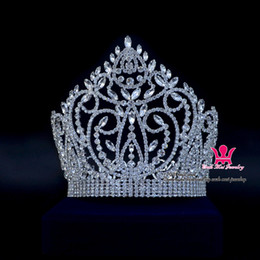 Wholesale Beauty Pageant Tiaras - Large Shining Pageant Crown Tiara Miss Beauty Queen Princess Hairwear Jewelry Accessories Party Prom Night Clup Show Headdress 02164