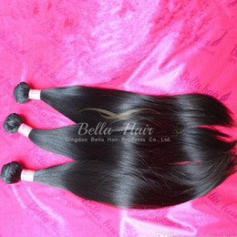 Wholesale Cheapest Weave - Cheapest 100% Indian Hair Extension Unprocessed Hair Weaves Double Weft Natural Color Silky Straight Hair Bundles 8-30 Bella